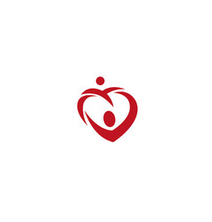 heart family caring kids and baby for logo design vector image