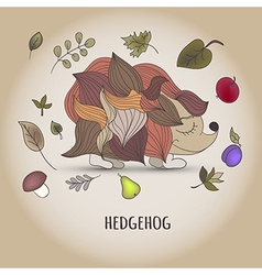 Hedgehog with fruit and leaves vector image
