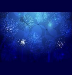 Holiday bg blue fireworks vector