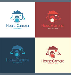 house camera logo and icon vector image