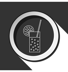 Icon - glass carbonated drink straw and citrus vector