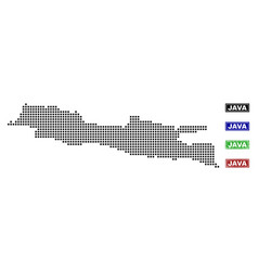 Java island map in dot style with grunge name vector