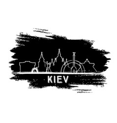 Kiev skyline silhouette hand drawn sketch vector