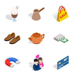 Mass purchase icons set isometric style vector
