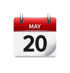 May 20 flat daily calendar icon date vector