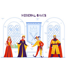 Medieval kingdom jester composition vector