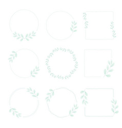 minimal watercolor green leaf wreath frame vector image