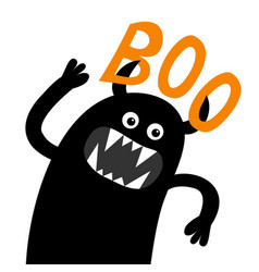 Monster screaming spooky silhouette boo text vector