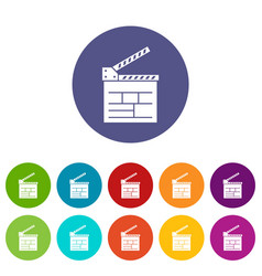 movie cracker icons set color vector image