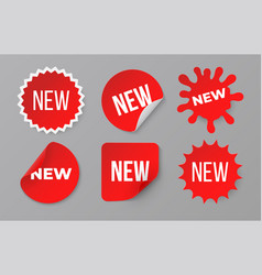 new sticker set sale product red badge label vector image