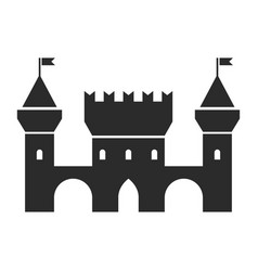 old castle black icon palace and strong wall vector image