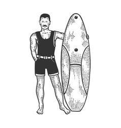 old fashioned surfer sketch engraving vector image