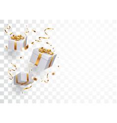 Open box with gold confetti vector