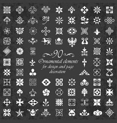 ornamental calligraphic elements on chalkboard vector image