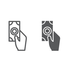 payment line and glyph icon finance and pay hand vector image