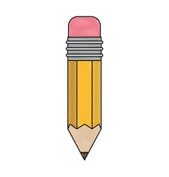 pencil design tool in colored crayon silhouette vector image