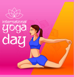People doing asana for international yoga day on vector