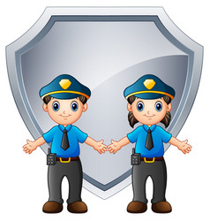 police officers kids with b vector image