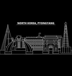 pyongyang silhouette skyline north korea vector image