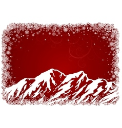 Red Christmas background with mountains vector image