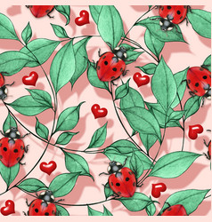 roantic watercolor ladybug and red hearts vector image