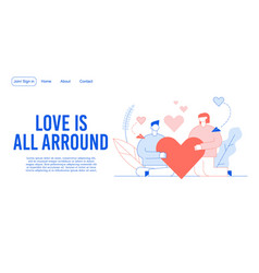 Romantic loving relation creation landing page vector