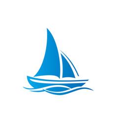 Sailing boat ocean logo vector
