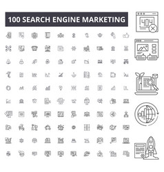 search engine marketing editable line icons 100 vector image