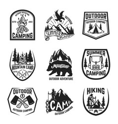 Set of camping hiking mountains outdoor emblems vector