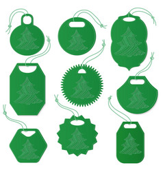 set of tags decorated with christmas tree vector image