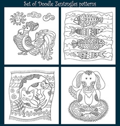 Set of zen tangles with animals vector