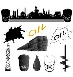 Set oil industry facilities vector