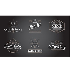 Set tailoring tailor sew elements and sewing vector