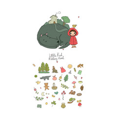 set with little red riding hood fairy tale vector image