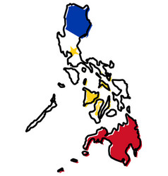 simplified map of philippines outline with vector image