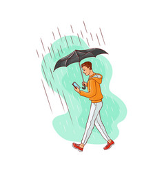 Sketch man walking rain umbrella smartphone vector