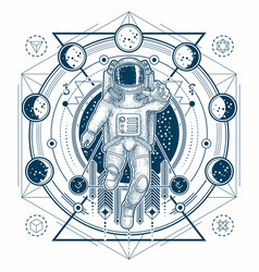 Sketch of a tattoo with astronaut in a vector