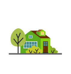 small cartoon green house with trees isolated vector image