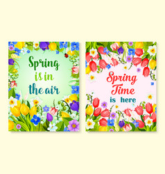 Spring flower card with floral frame and border vector