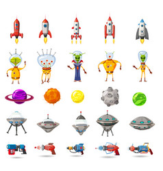 super set of space planets ufo rockets aliens vector image
