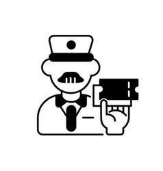 Ticket inspector black linear icon vector