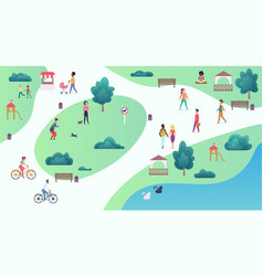 top map view of various people at park walking and vector image