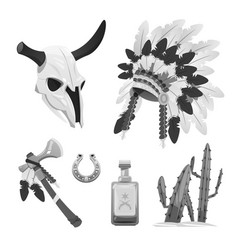 tribal indian objects - buffalo skull vector image