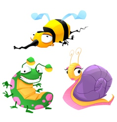 Two funny insects and one snail vector