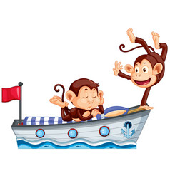 Two happy monkey on boat bed vector