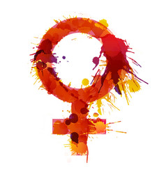 venus sign made colorful grunge splashes vector image