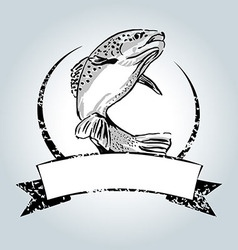 Vintage label with trout vector