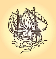 vintage old ship vector image