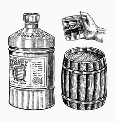 vintage whiskey barrel glass bottle for scotch vector image