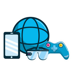 virtual reality icon set design vector image
